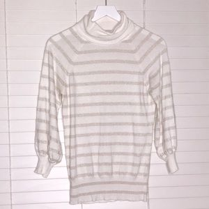 Express Gold Metallic Striped Turtleneck